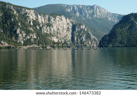 "The Danube Gorges ""Cazanele Mari"" , seen from the Romanian side"