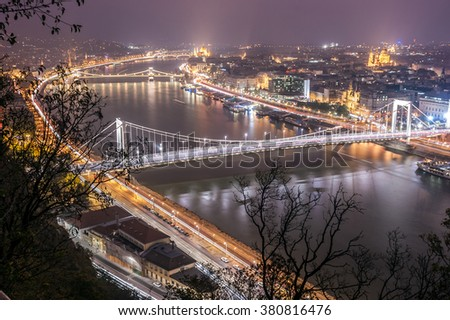 The Danube River passing through Budapest, with its emblematic bridges