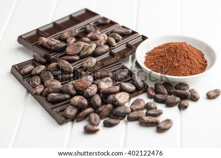 the dark chocolate, cocoa beans and cocoa powder - stock photo