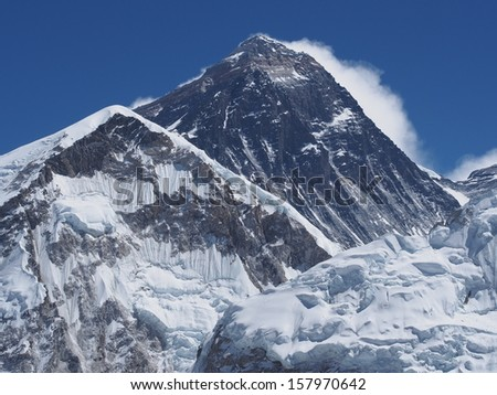 The dark summit of Mount Everest from Kala Patthar, Nepal.