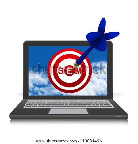 The Dart With SEM( Search Engine Marketing ) Target in Black Laptop Screen Isolated on White Background - stock photo
