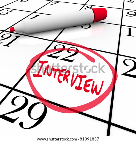 The date of an interview is circled on a calendar so you remember the important meeting with your potential new employer - stock photo