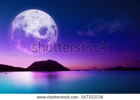 the dawn coast of moonlight - stock photo