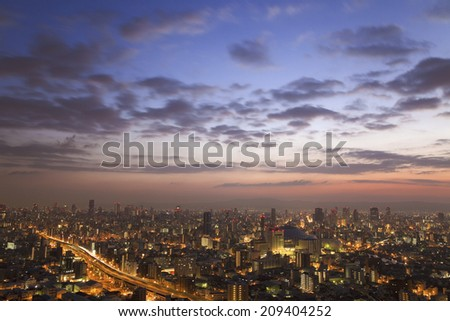 The Dawn Of Chuo-Ku And Nishi-Ku In Osaka - stock photo