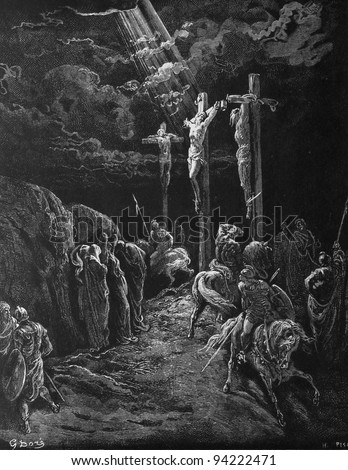 The death of Jesus. 1) Le Sainte Bible: Traduction nouvelle selon la Vulgate par Mm. J.-J. Bourasse et P. Janvier. Tours: Alfred Mame et Fils. 2) 1866 3) France 4) Gustave Doré - stock photo
