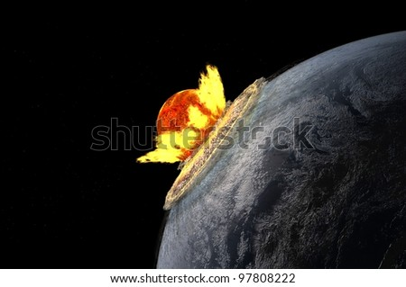 The death of the planet in the cosmos. - stock photo