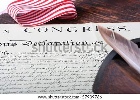 The declaration of the Congress of the United States of America on independence.