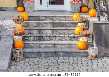 The decorations on the stairs for Halloween. - stock photo