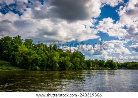 The Delaware River in Easton, Pennsylvania. - stock photo
