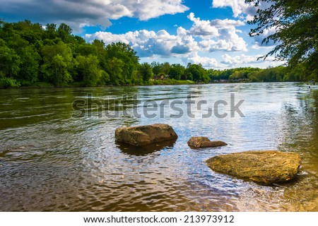 The Delaware River, north of Easton, Pennsylvania. - stock photo