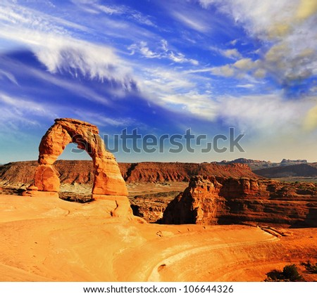 The Delicate Arch with beautiful sky - stock photo