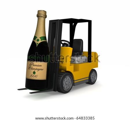 The delivery of one major bottle of Champagne by a forklift truck isolated on white - stock photo