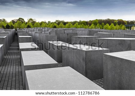 The Denkmal fur die Juden ermordeten Europe (Memorial to the Murdered Jews of Europe), also known as Holocaust-Memorial Mahnmal at Berlin, Germany - stock photo