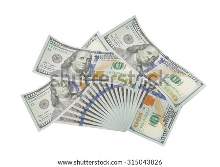 The denomination hundred dollars on isolated white background. This has clipping path.