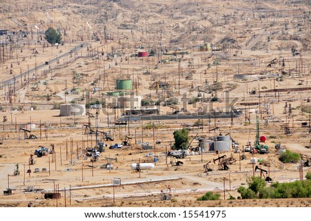 The dense Kern River Oil Fields near Bakersfield, California - stock photo