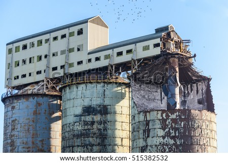 The derelict remains of a chemical plant that produced soda ash. Brunner Mond, Winnington, Northwich, Cheshire, UK
