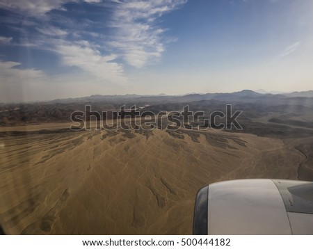 the desert from an airplane