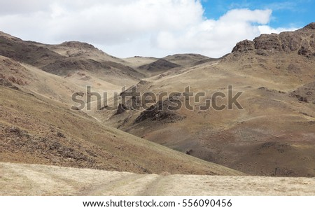 The desert in the mountains of central Asia