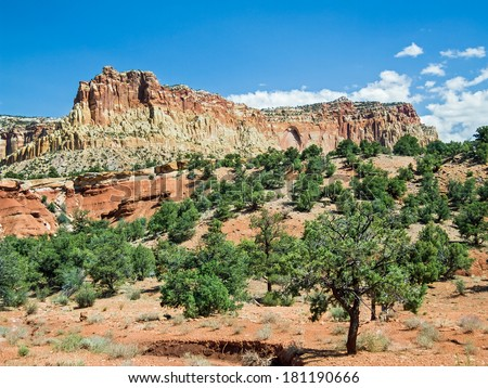 The desert landscape of America's Southwest is on display at Utah's Capitol Reef National Park. - stock photo