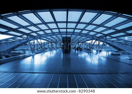 The design architecture of modern train (subway) station - stock photo