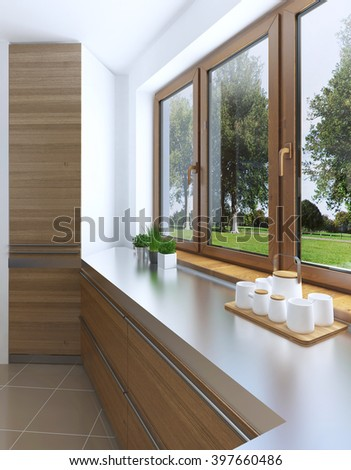 The design idea of the built-in refrigerator in the facade of a modern kitchen. A large window smoothly passing into the cuisine countertop. Frontage of light wood. 3D render.