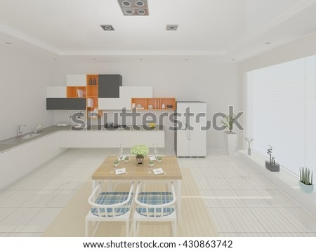 The design of modern cuisine in a minimalist style, 3d rendering. - stock photo