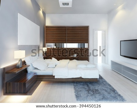 The design of modern light bedroom with a large sliding closet. The idea of brown furniture in a white bedroom, a luxurious solution. 3D render. - stock photo