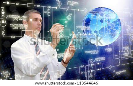 The designing new connection technology - stock photo