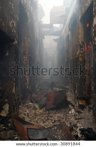 The destroyed building destroyed by the burning down fire