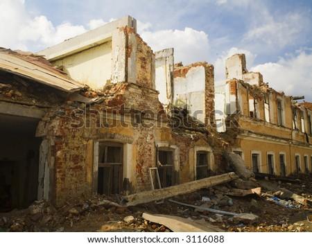 the destruction houses - stock photo