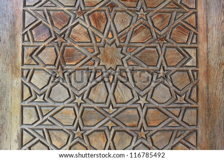 The detail on wooden gate of Selimiye Mosque, Edirne.