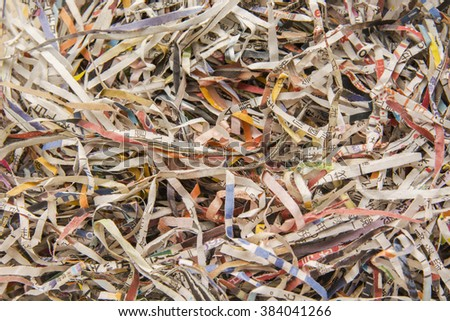 The detail texture of shredding paper - stock photo
