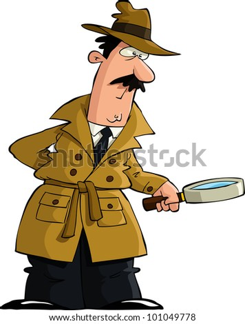 The detective looked through a magnifying glass , raster