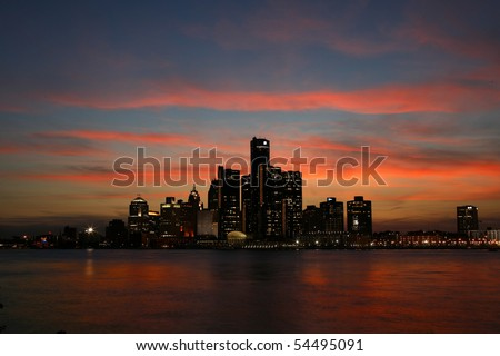The Detroit skyline from the Canadian side of the river. - stock photo