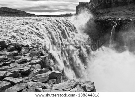 The Dettifoss falls in Iceland  (black and white) - stock photo