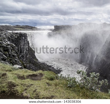 The Dettifoss falls - most powerful in Europe, Its width is 100 meters and the height of 44 meters - Iceland