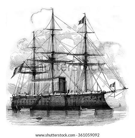 The Devastation, French battleship, vintage engraved illustration. Magasin Pittoresque 1878. - stock photo