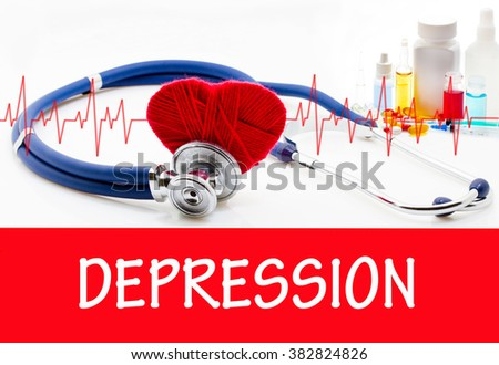 The diagnosis of depression. Phonendoscope and vaccine with drugs. Medical concept. - stock photo