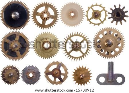 the different  cogwheels set isolation - stock photo
