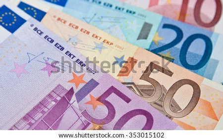 The different euro banknotes: ten, twenty,fifty, five hundred - stock photo