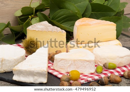 the different french cheese on a slate