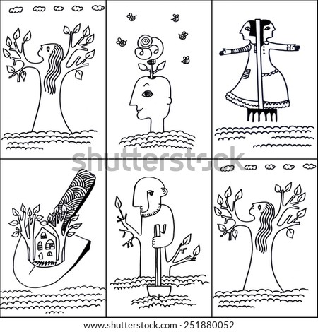 The 6 different sketched illustrations of a spring figures made manually with the ink pen on the white background - stock photo