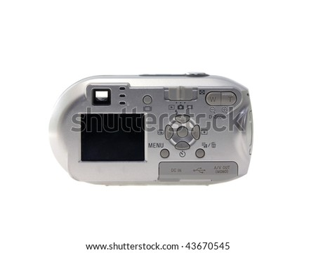 The digital camera on a white background, is isolated.