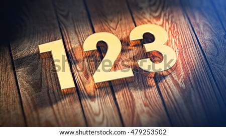 "The digits ""123"" is lined with gold letters on wooden planks. 3D illustration image"