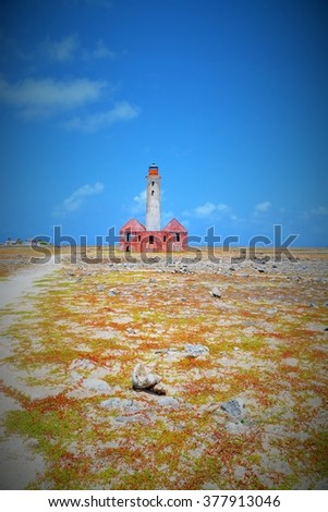 The dilapidated lighthouse on small Curacao - stock photo