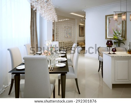 The dining room and kitchen in a classic style. 3d visualization