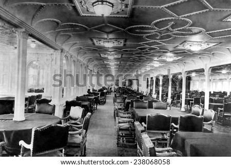 The Dining Room Of The RMS Titanic Which Sank After Hitting An Iceberg On  Its Maiden