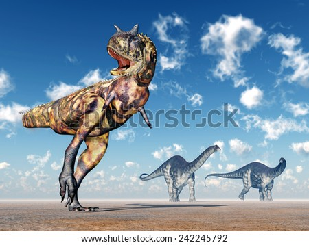 The Dinosaurs Carnotaurus and Apatosaurus Computer generated 3D illustration - stock photo