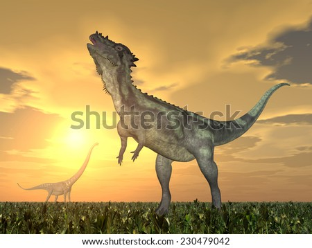 The Dinosaurs Pachycephalosaurus and Mamenchisaurus Computer generated 3D illustration - stock photo