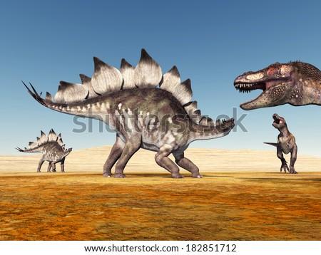 The Dinosaurs Stegosaurus and Tyrannosaurus Rex Computer generated 3D illustration - stock photo